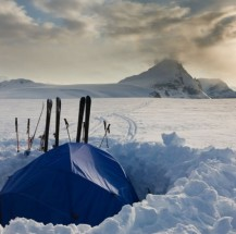 Camp high on an icefield of the Canadian Rocky Mountains.